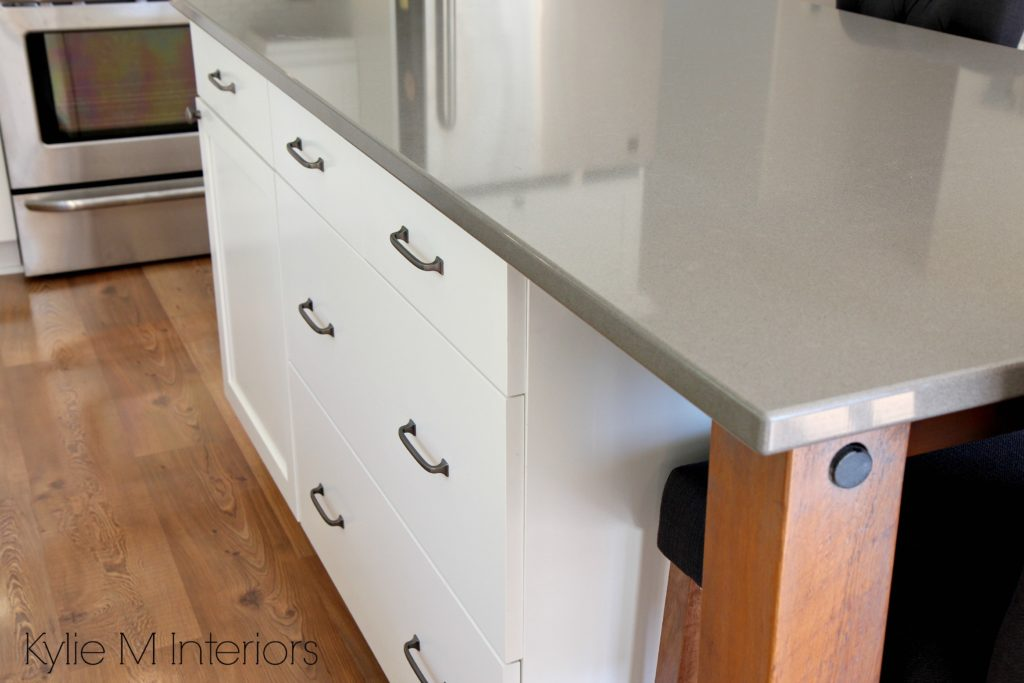 Gray quartz island countertops, Benjamin Cloud White and rustic, reclaimed wood island legs or supports