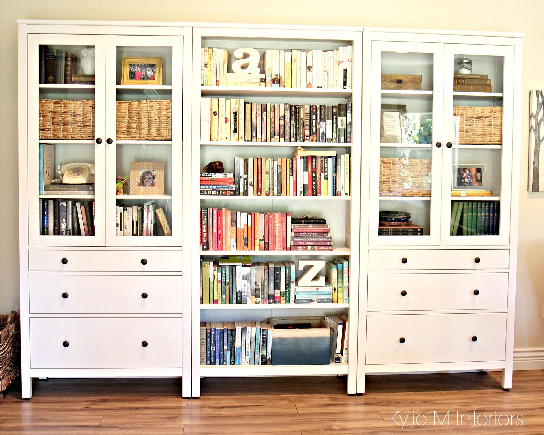 ikea hemnes bookcase with colour coordinated books in. Black Bedroom Furniture Sets. Home Design Ideas