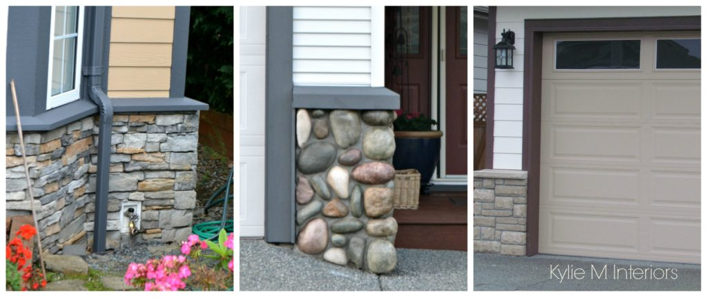 Paint colours the match stone and rock work on the exterior of a house with vinyl and hardi siding