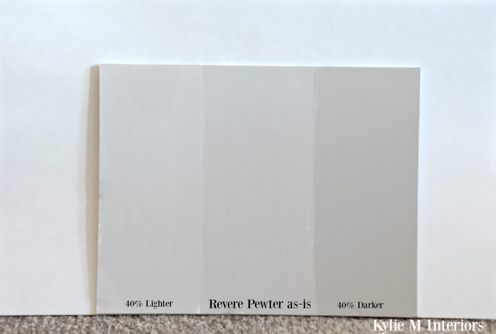 Revere Pewter lighter and darker samples. How to lighten and darken paint colours to create the perfect color by Kylie M Interiors