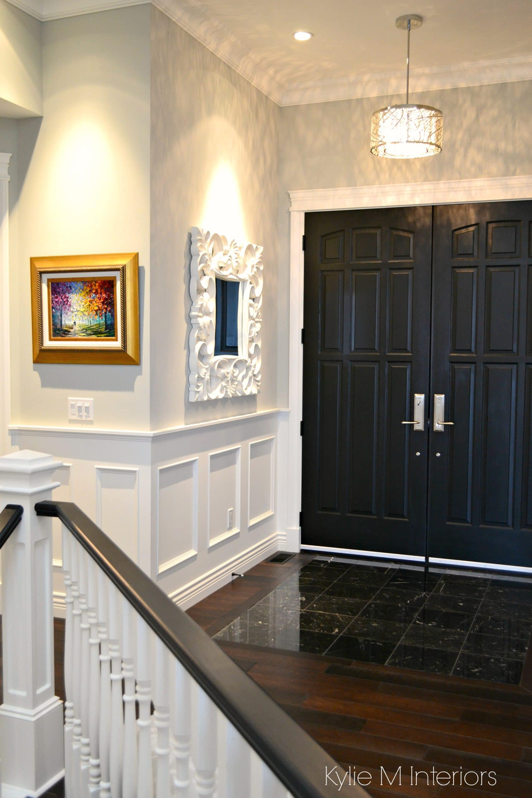 How To Choose Paint Sheen Finish Foyer Front Door Painted Black Gray Walls White Wainscoting