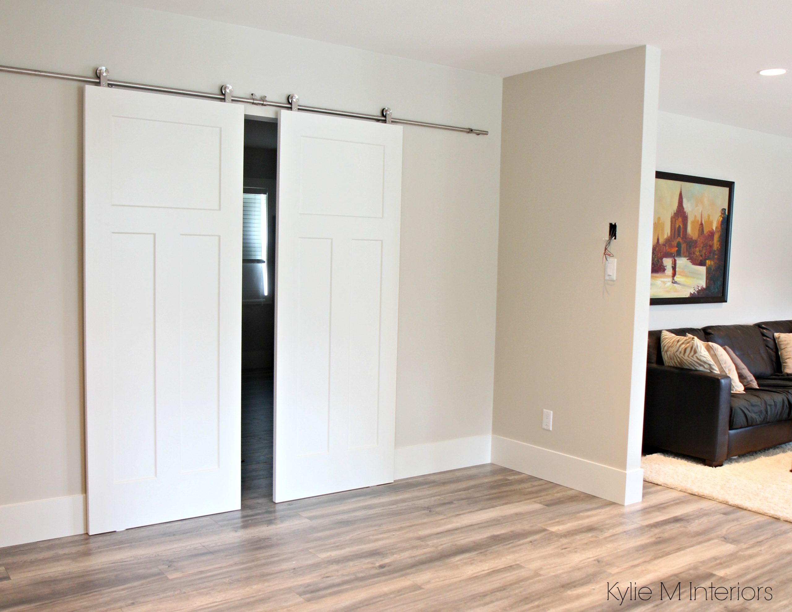 Benjamin moore edgecomb gray leading into master bedroom for Bedroom barn door hardware