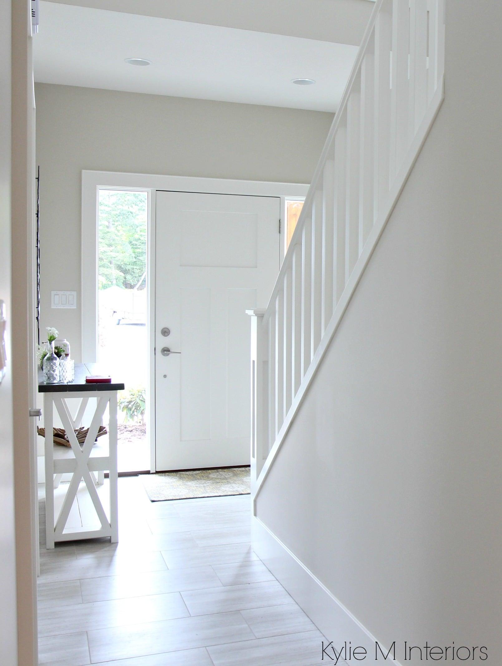 Lighting Basement Washroom Stairs: Benjamin-moore-edgecomb-gray-or-greige-in-entryway-foyer