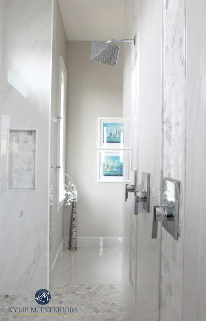 walk-in-shower-ensuite-bathroom-marble-hexagon-mosaic-tile-floor-porcelain-walls-benjamin-moore-balboa-mist-kylie-m-interiors