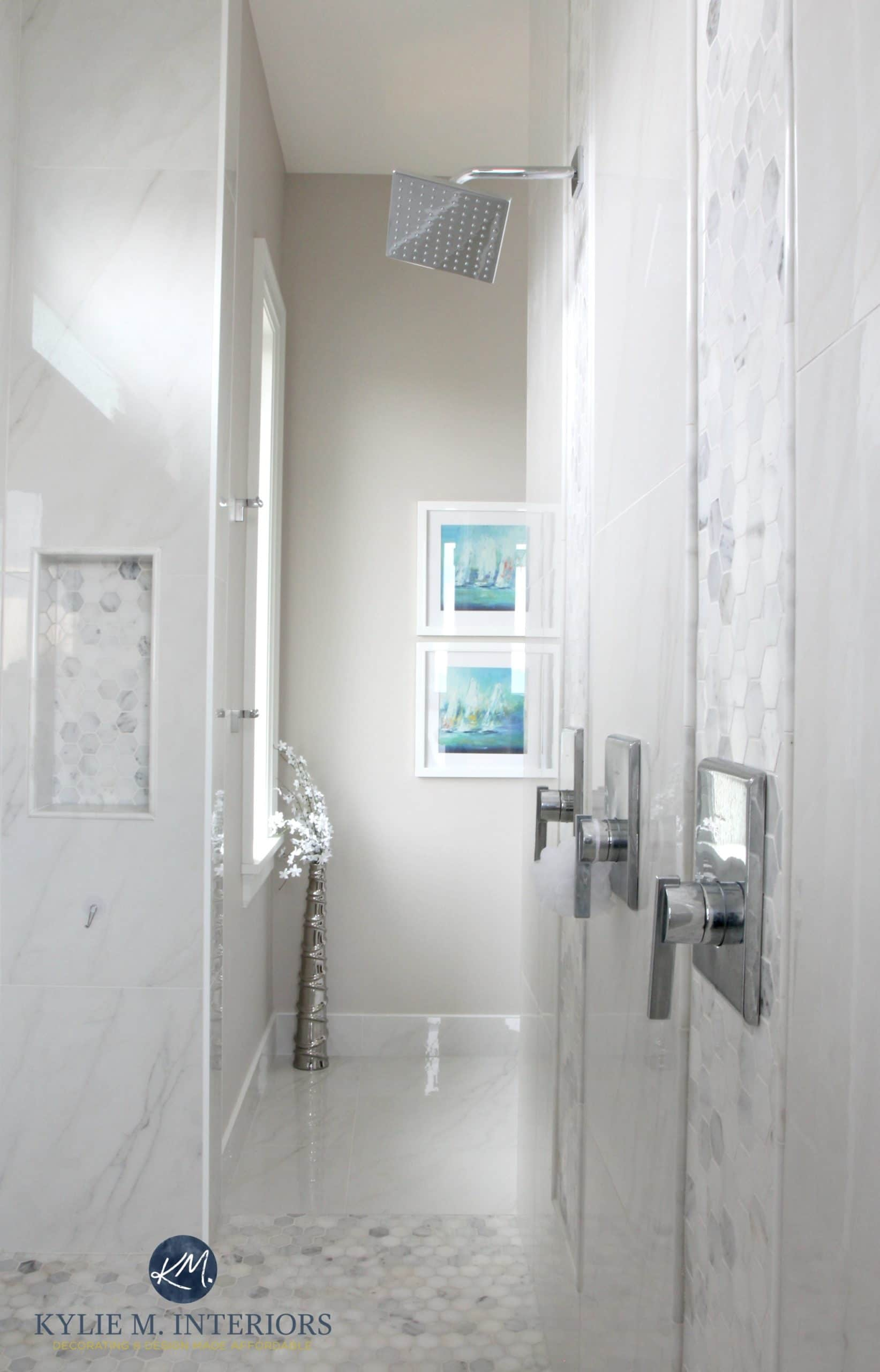 walk-in-shower-ensuite-bathroom-marble-hexagon-mosaic-tile-floor ...