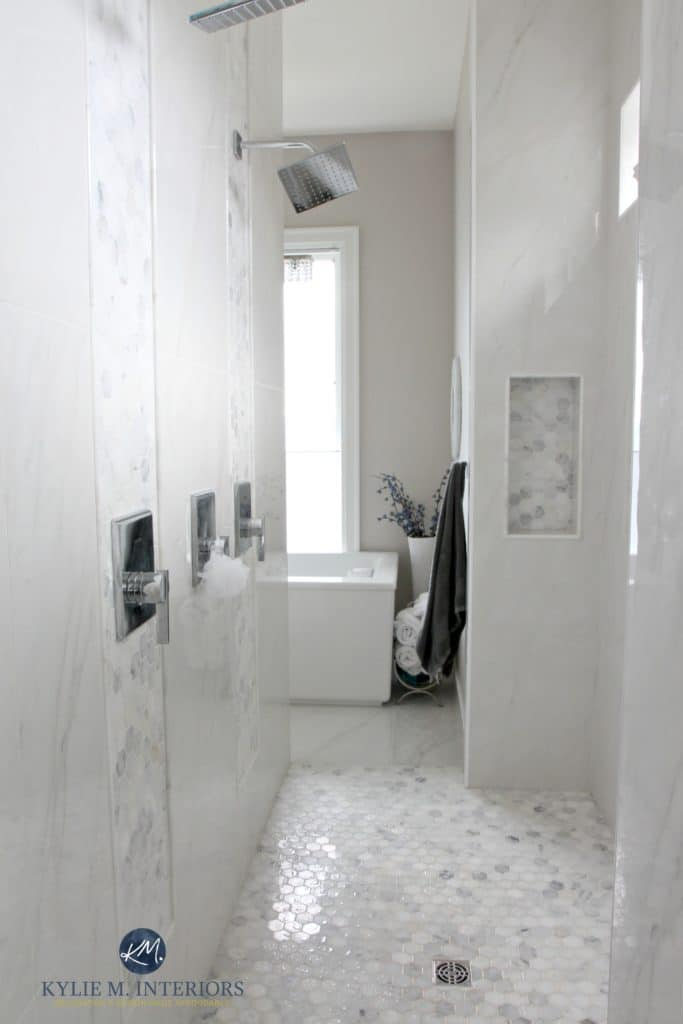 walk-in-shower-in-master-ensuite-bathroom-marble-hexagon-floor-accent-tile-walls-with-double-shower-head-and-rainshower-kylie-m-interiors-decorating-and-design-edecor