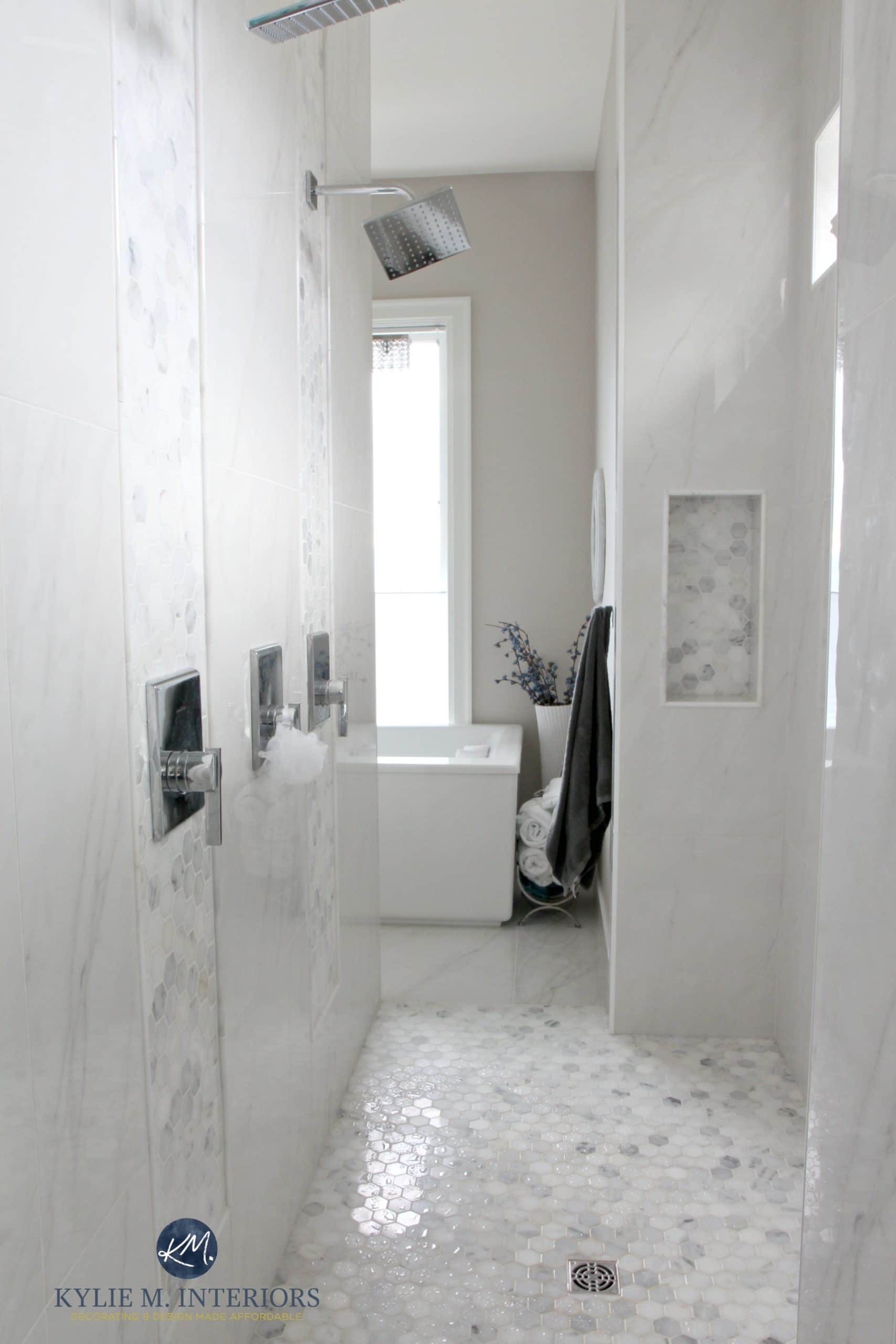 Bathroom Sets Luxury Reconditioned Bath Tub In Master Bedroom: Walk-in-shower-in-master-ensuite-bathroom-marble-hexagon