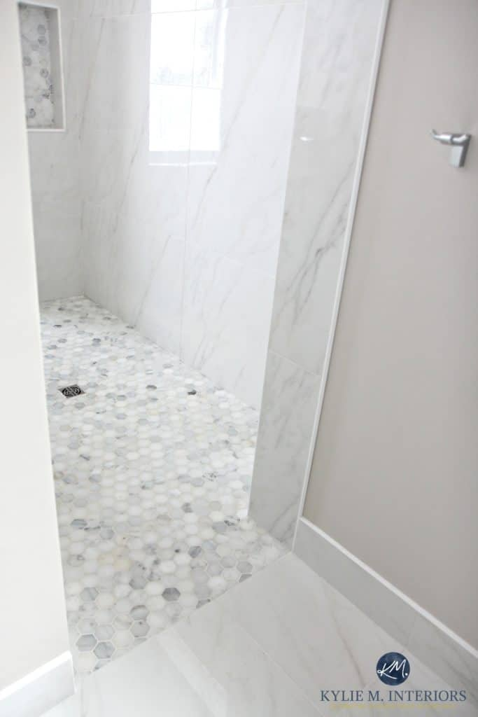 walk-in-shower-with-marble-hexagon-tile-floor-marble-walls-baseboard-and-flooring-kylie-m-interiors-decorating-design-online-color-consulting