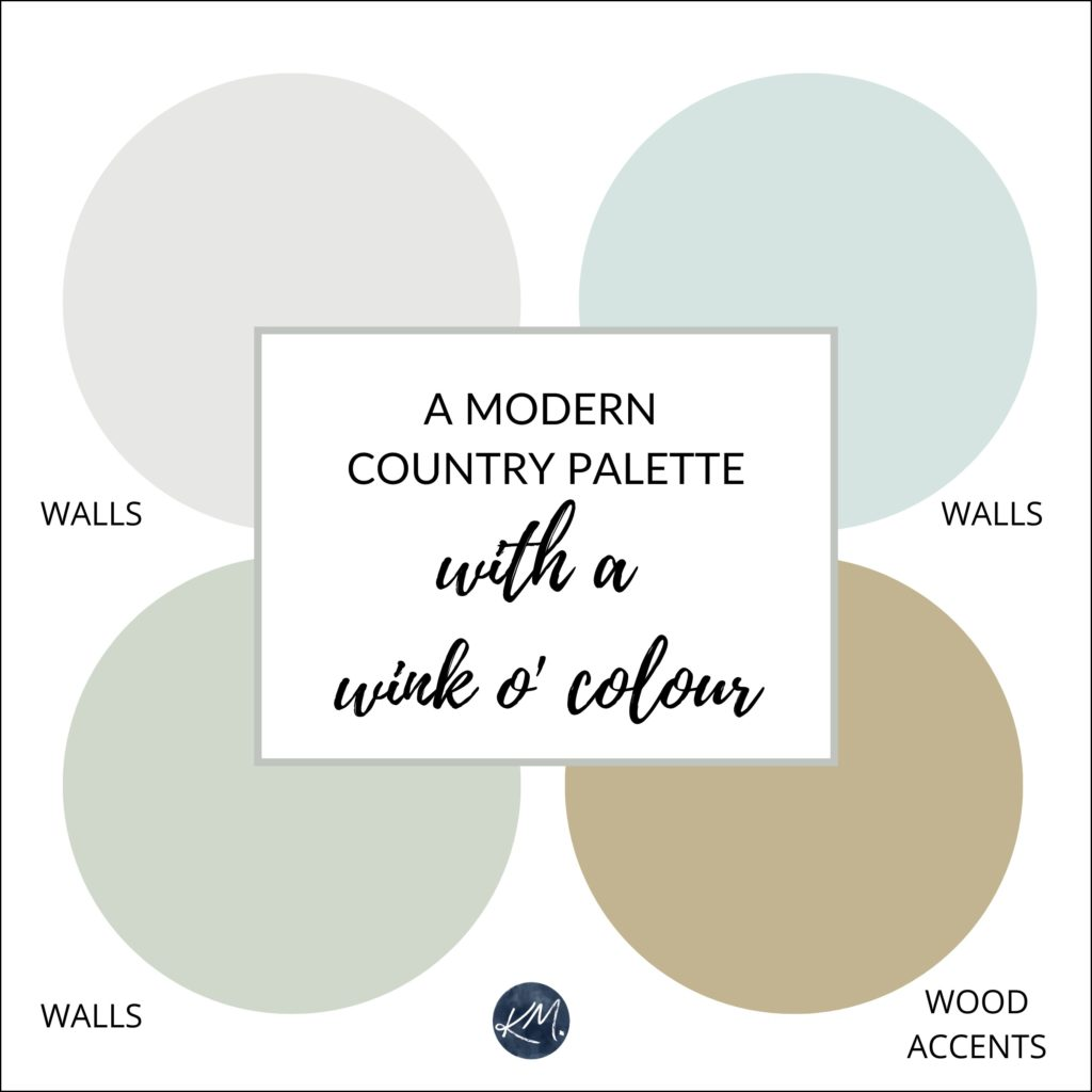 A modern country style paint palette with a bit more color, blue, green. Farmhouse inspired. Kylie M Interiors Edesign, using Benjamin or Sherwin paint colors. Online paint colour expert