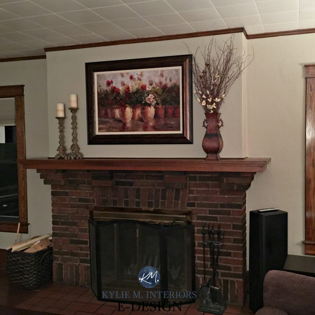 Best paint color for dark wood trim, brick fireplace. Sherwin Williams Balanced Beige. Kylie M Interiors E-design, online paint colour expert