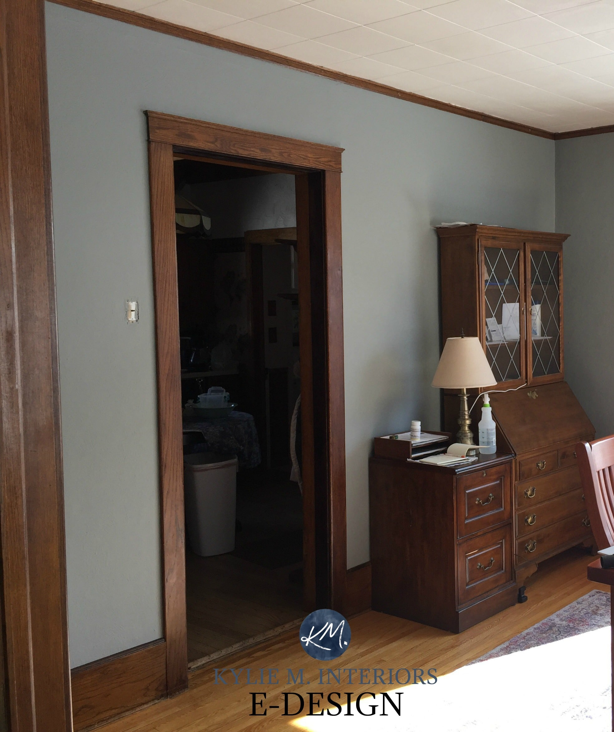 Best paint colour for dark wood trim. Sherwin Williams Tin Lizze. Kylie M Interiors E-design paint colour consultant and expert & Best paint colour for dark wood trim. Sherwin Williams Tin Lizze ...