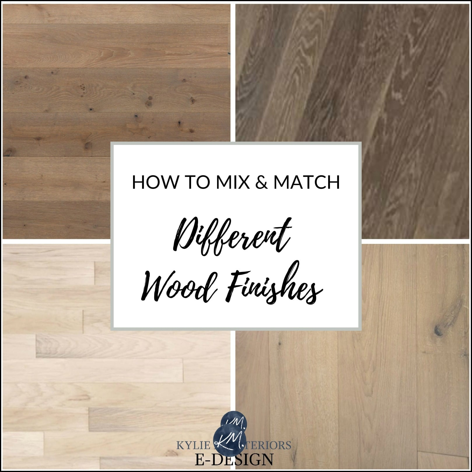 How to coordinate, mix different wood finishes or stains. Oak, maple, cherry. Kylie M Interiors Edesign,