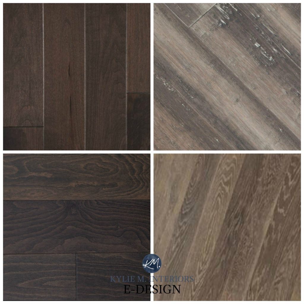 How to mix and match or coordinate with wood cabinets or flooring with purple oak or red maple stain. Kylie M Interiors Edesign, online paint color consulting
