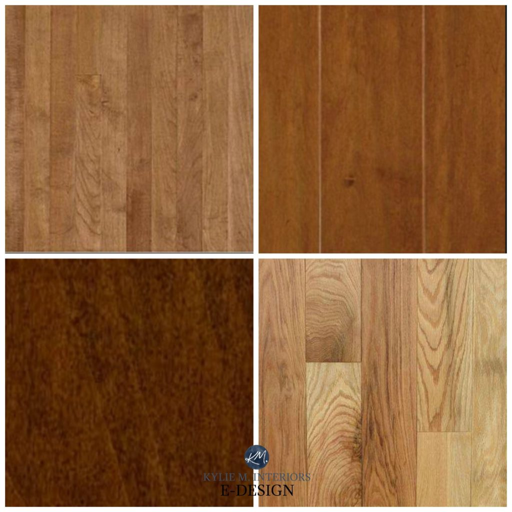 How to mix and match or coordinate wood and stains in a room with cabinets and flooring. Red oak or orange. Kylie M Interiors Edesign, DIY blog and home decor ideas with paint colours