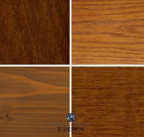 How to mix and match or coordinate wood and stains in a room with cabinets and flooring. Red oak or yellow or orange. Kylie M Interiors Edesign, DIY blog and home decor ideas with paint colours