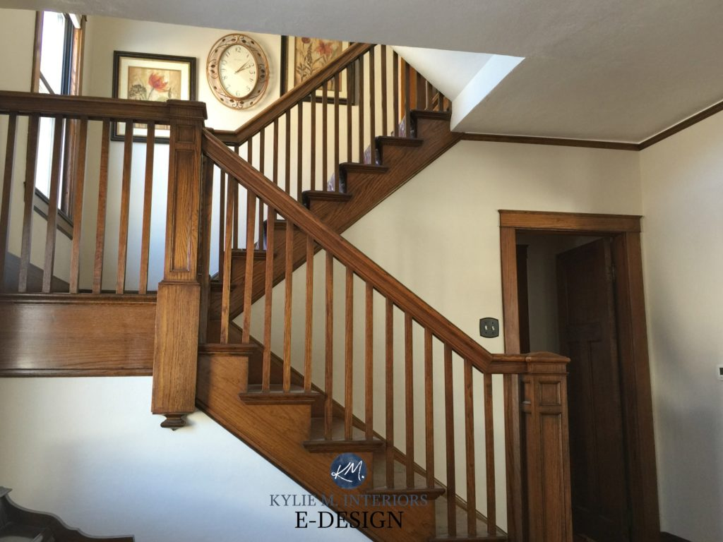 Kylie M Interiors E-design. Best paint color for dark wood trim and stairs, doors. Sherwin Williams Natural Tan. Online, virtual paint colour consultant