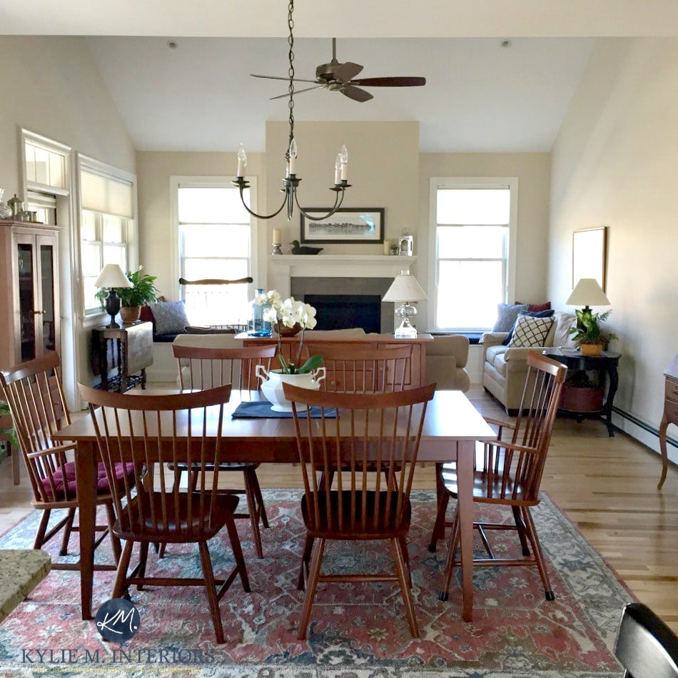 sherwin williams canvas tan in open layout living and dining with