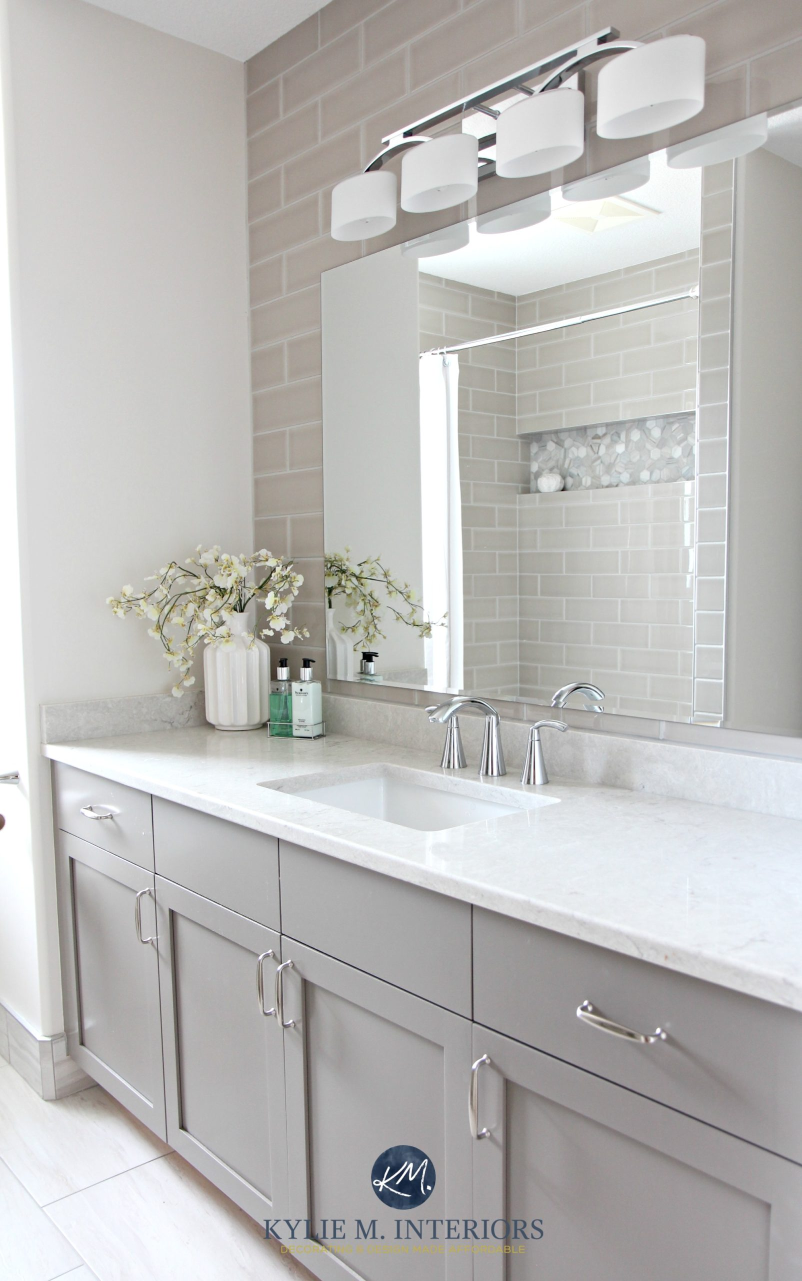 Bathroom remodel moen glyde fixtures bianco drift quartz bathroom remodel moen glyde fixtures bianco drift quartz countertop caesarstone subway tile wall gray painted vanity by kylie m interiors dailygadgetfo Choice Image