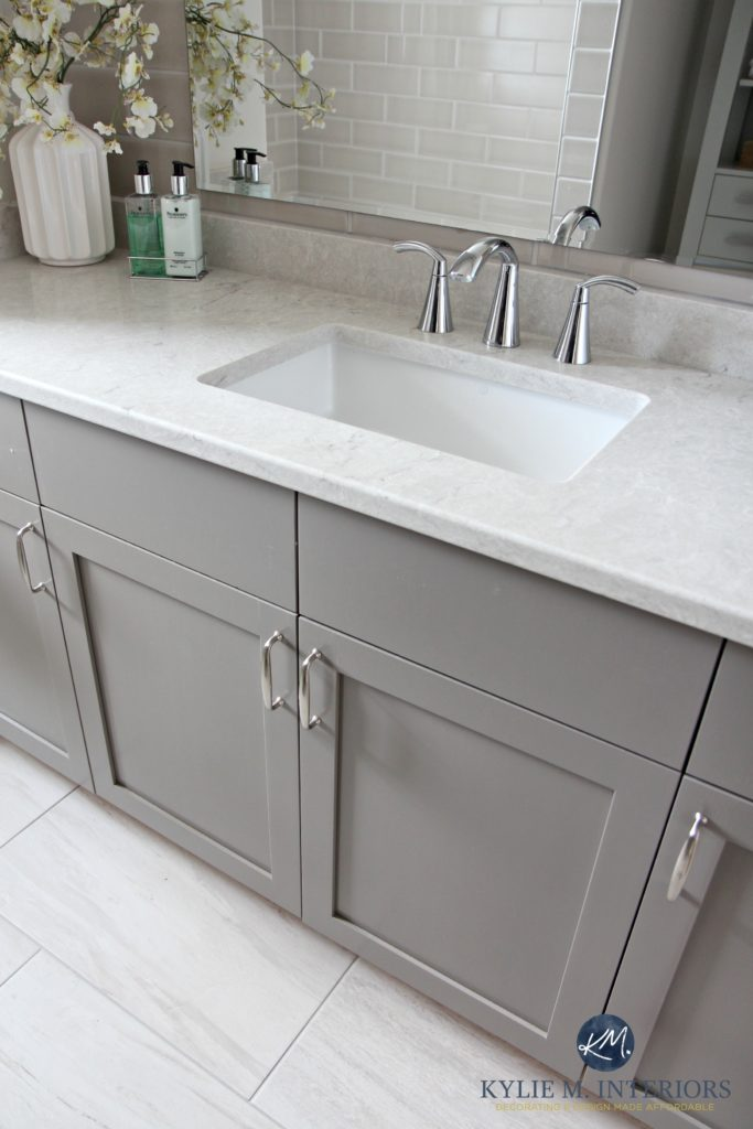bathroom vanity painted metropolis benjamin moore gray caesarstone bianco drift greige quartz countertop moen - Tile Bathroom Countertop