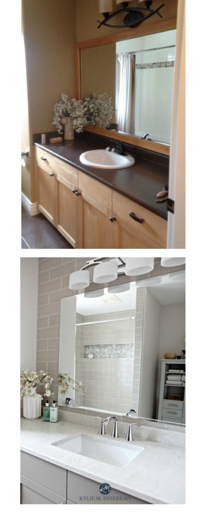 Before and after maple bathroom vanity update with greige, gray, subway tile and bianco drift. Kylie M Interiors E-design.jpg
