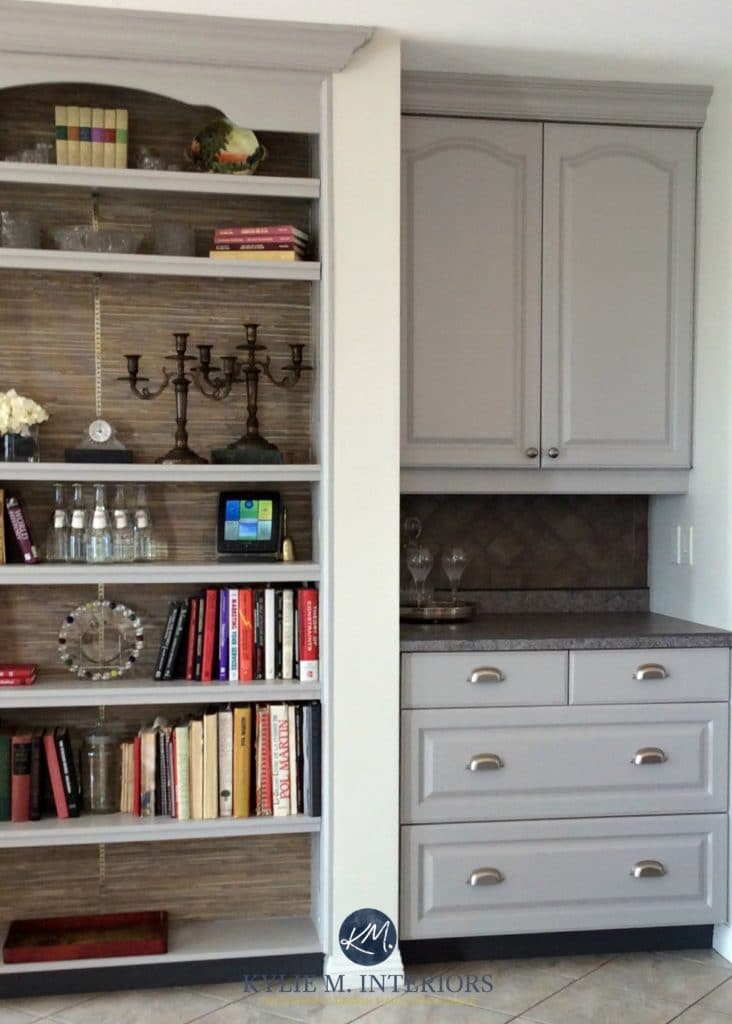 Merveilleux Benjamin Moore Baltic Gray Painted Oak Cabinets With Beige Tiled Floor,  Backsplash. Kylie M