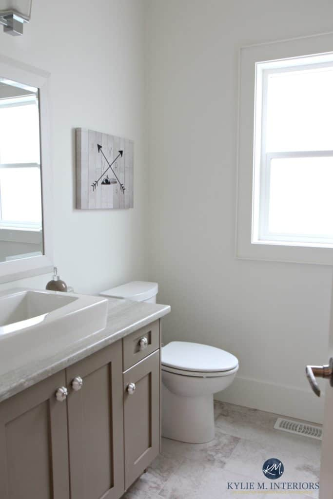 Best paint colour for bathroom vanity or cabinets, Benjamin MOore Kingsport Gray with formica travertine counters. Kylie M Interiors E-design
