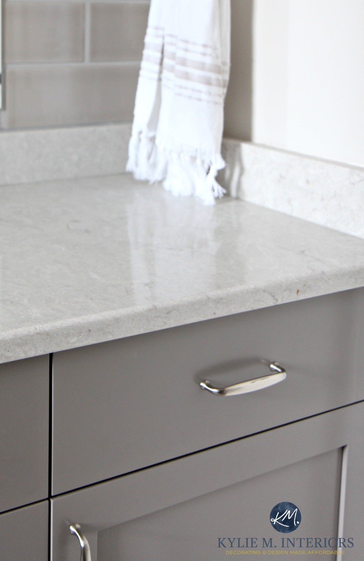 Caesarstone bathroom countertop Bianco Drift with gray and greige ...