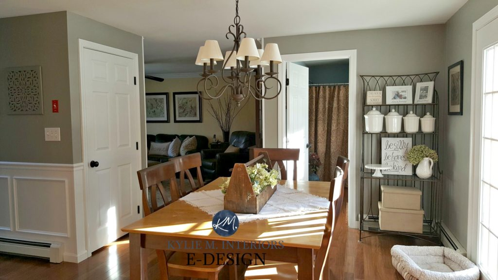 Country farmhouse style dining room warm wood floor and furniture