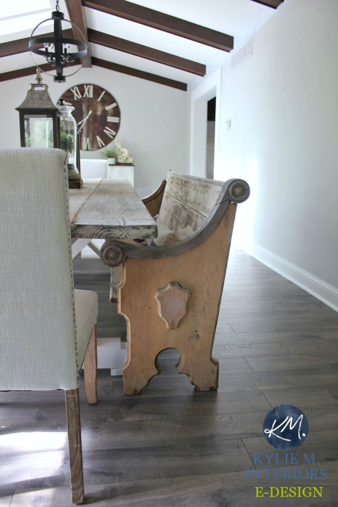 E-design, e-decor online color consultation with Kylie M Interiors. Sherwin Williams Agreeable Gray in a farmhouse style dining room with wood beams, flooring and bench