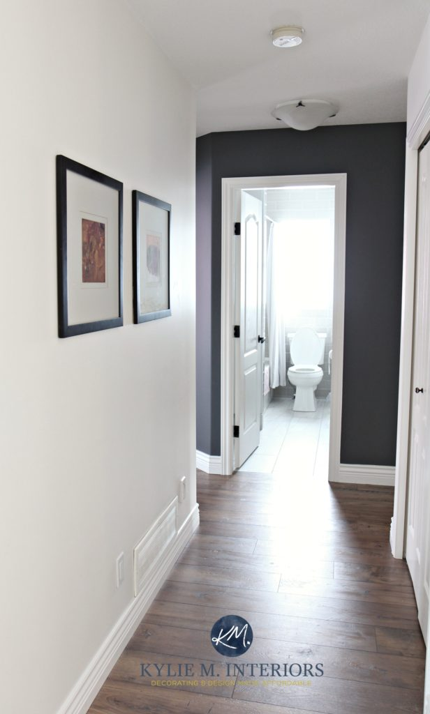 Hallway update with wood look laminate flooring, Sherwin Williams Creamy and Benjamin Moore Gray feature wall or accent wall. Kylie M Interiors E-design