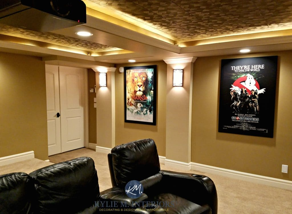 Home theatre media room with textured acoustic ceiling for M design interiors