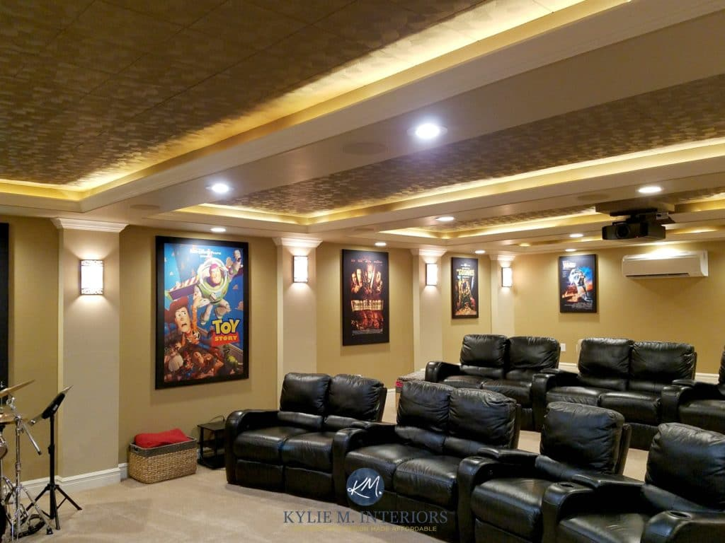 Home theatre or media room remodel with black recliners, Lenox Tan, Davenport Tan ceiling tiles and Tyler taupe. E-design and Color Consult Kylie M Interiors. Star Wars Movie posters