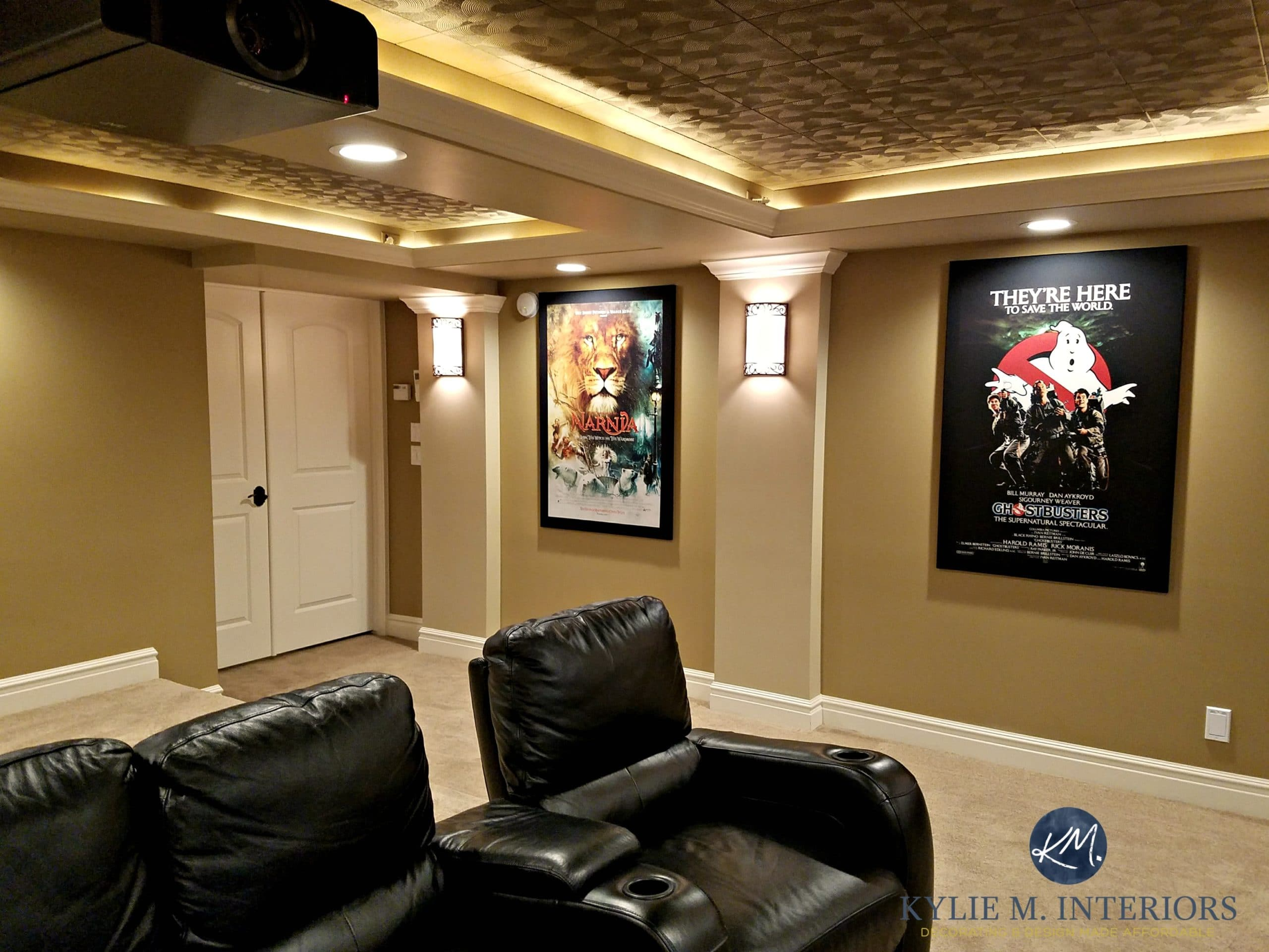 Benjamin moore lenox tan pictures - Home Theatre Room With Double Doors Black Recliners Movie Posters Textured Acoustic Ceiling Tiles Wall Sconces Benjamin Moore Lenox Tan Davenport Tan