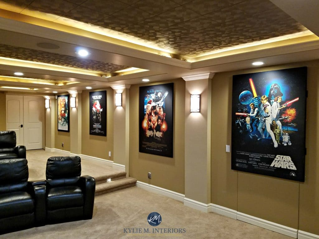 Home theatre room with textured acoustic tile ceiling for Kitchen colors with white cabinets with movie theater wall art