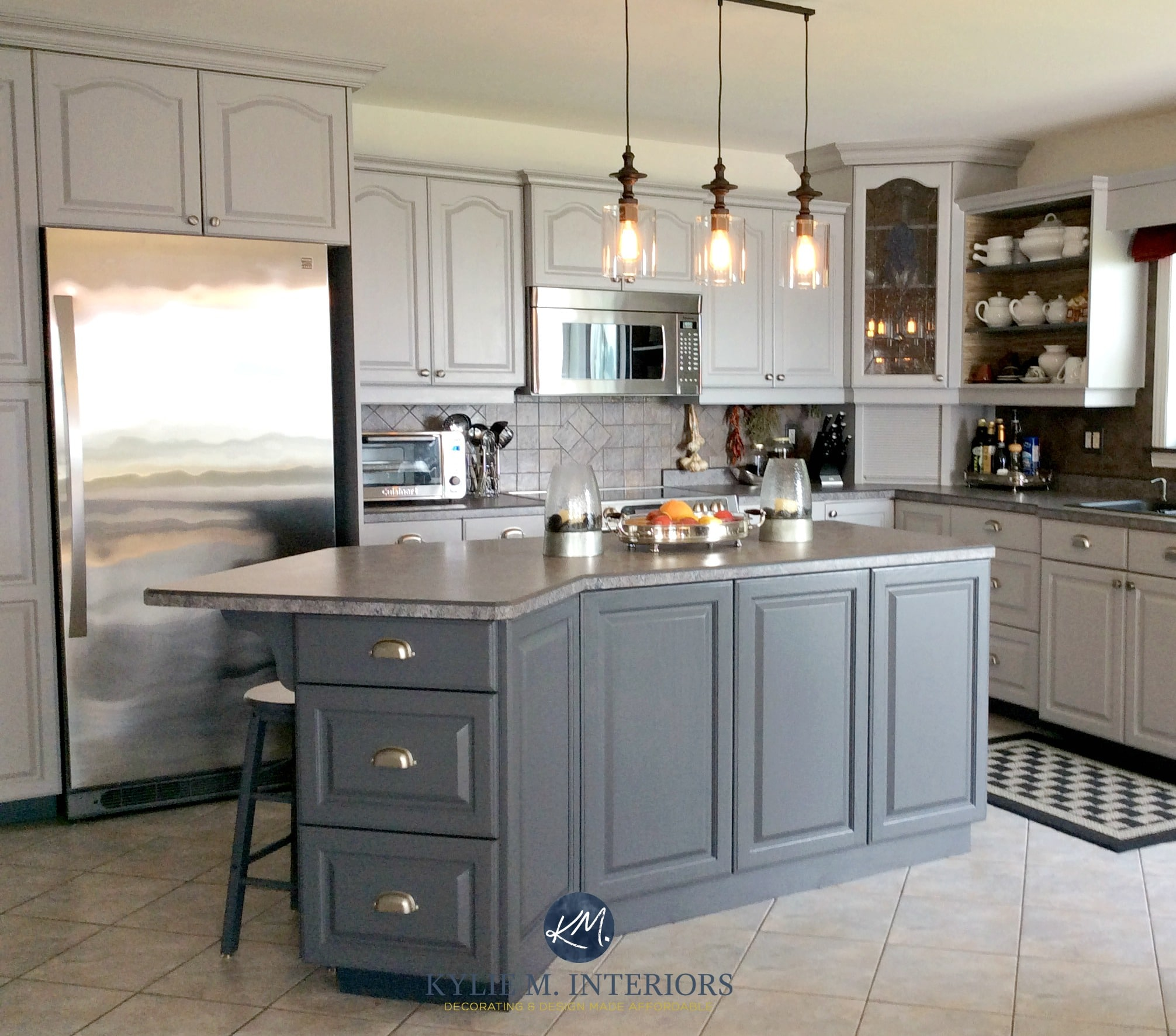 Oak Kitchen Cathedral Cabinets Painted Benjamin Moore Baltic Gray And Gray  2121 10. With Beige Floor Tile. Kylie M INteriors E Design And Online Color  ...