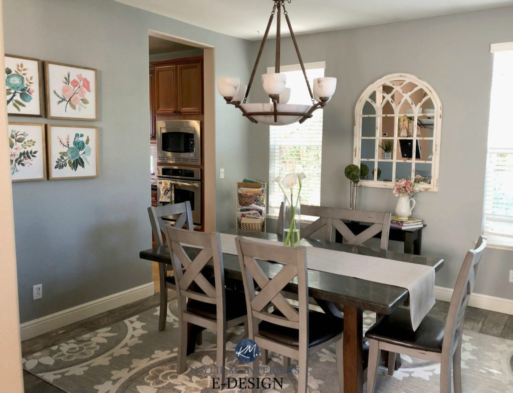 Sherwin Williams Ellie Gray, best gray paint colour with undertones in dining room. Kylie M Interiors E-design, online paint color consulting