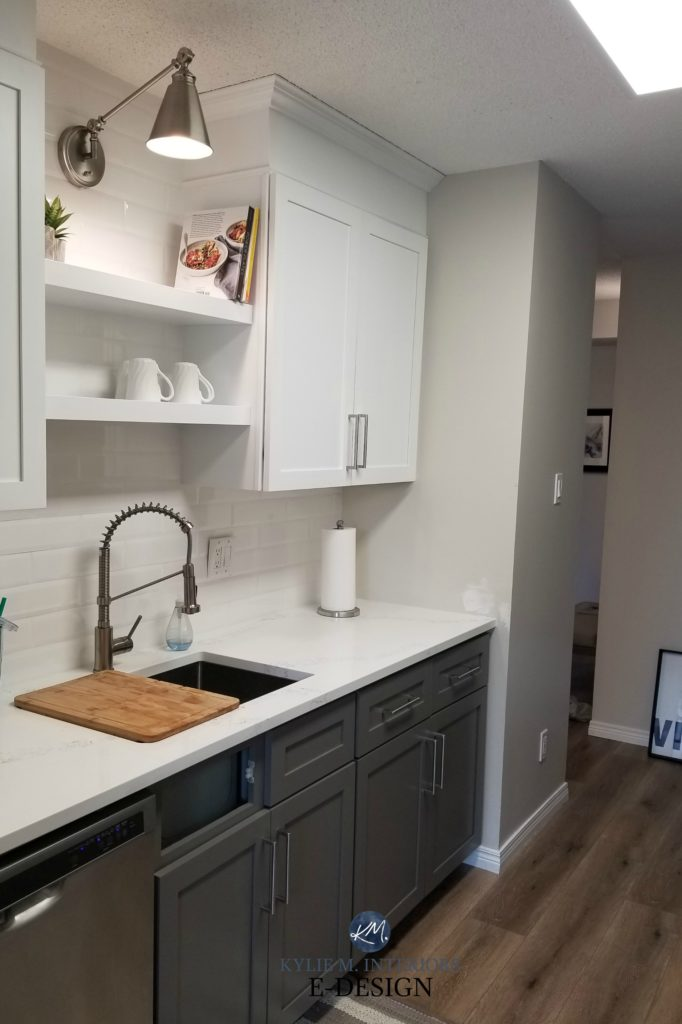 Sherwin Williams Gauntlet Gray, white upper cabinets. Small kitchen makeover. Kylie M Interiors Edesign, online consultant