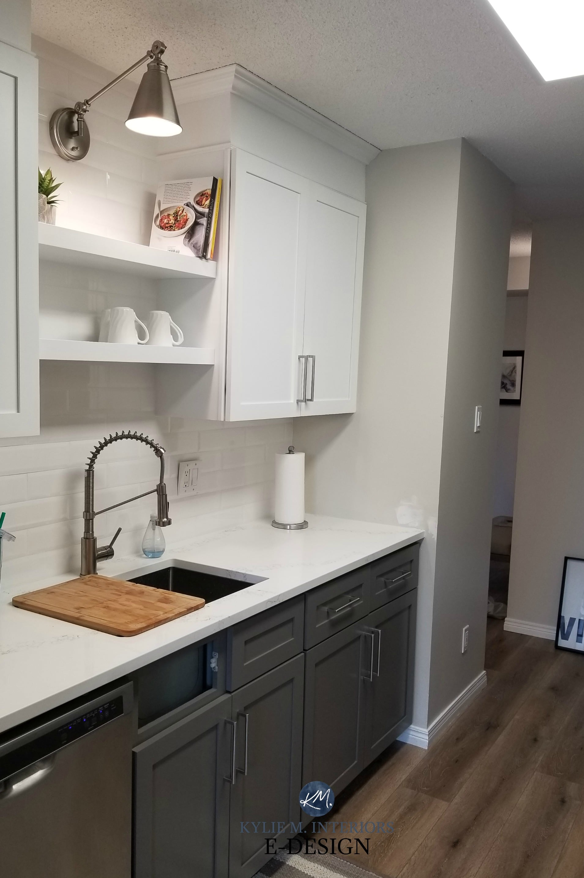 Sherwin Williams Gauntlet Gray White Upper Cabinets