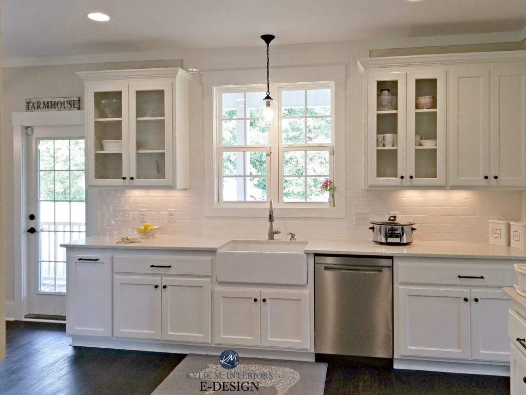 White kitchen, Bianco Drift quartz, Worldly Gray Walls, Pure White cabinets, Kylie M Interiors Edesign