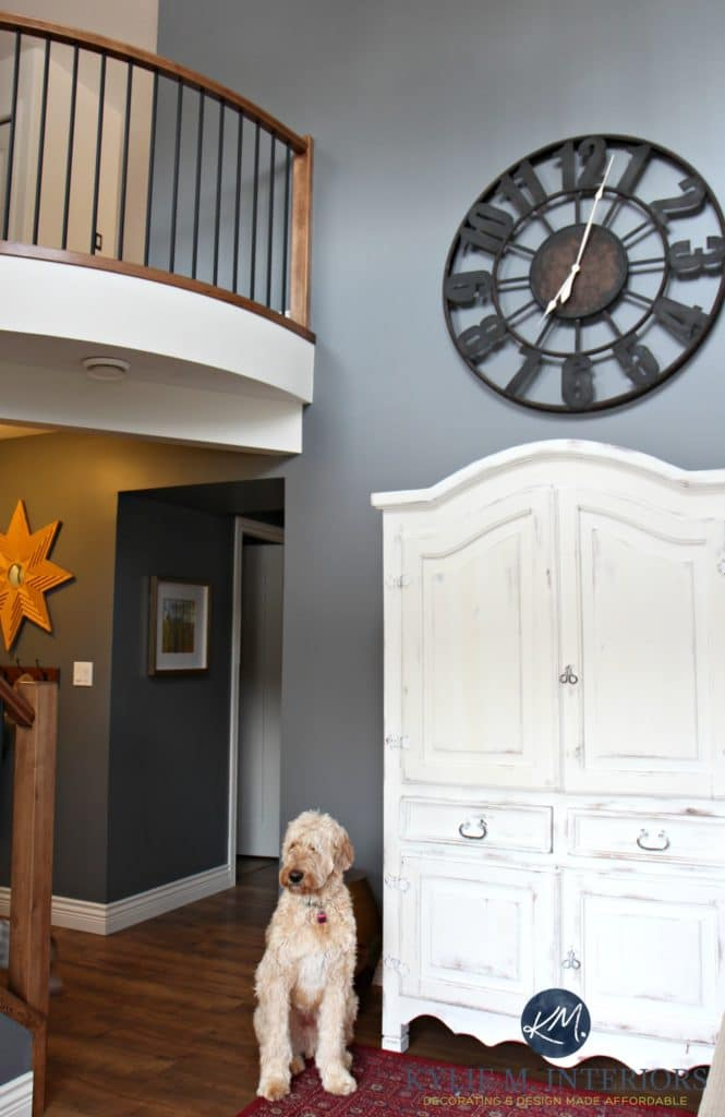 2 storey entryway, foyer, stair with curved railing. golden doodle, wood and metal railing, Benjamin Moore Steel Wool feature or accent wall by Kylie M Interiors