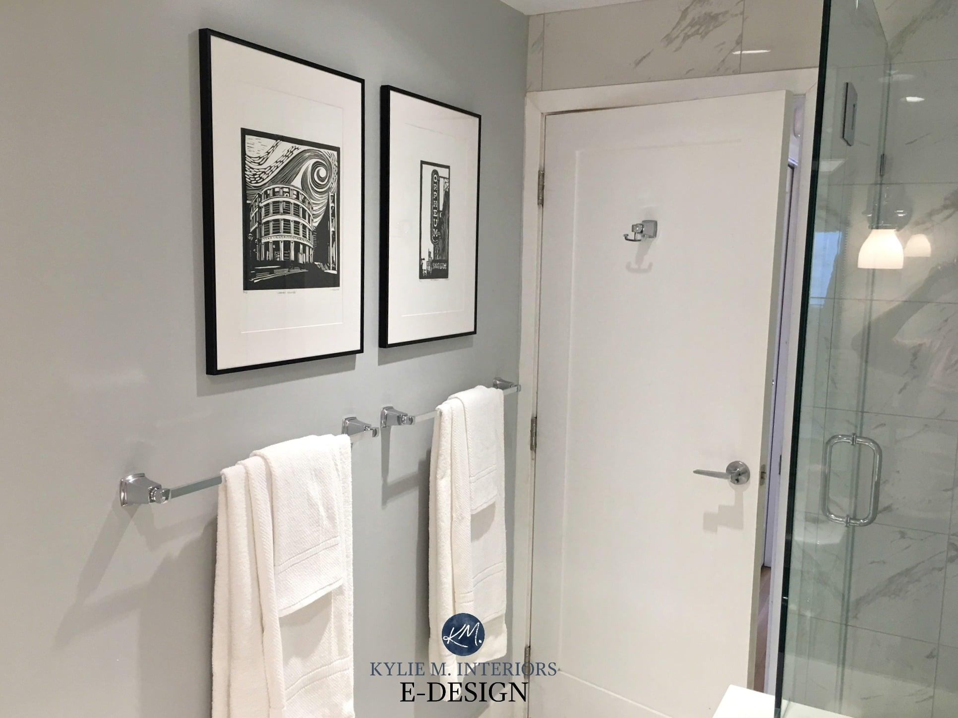 Bathroom with porcelain look marble tile. Paint color ...