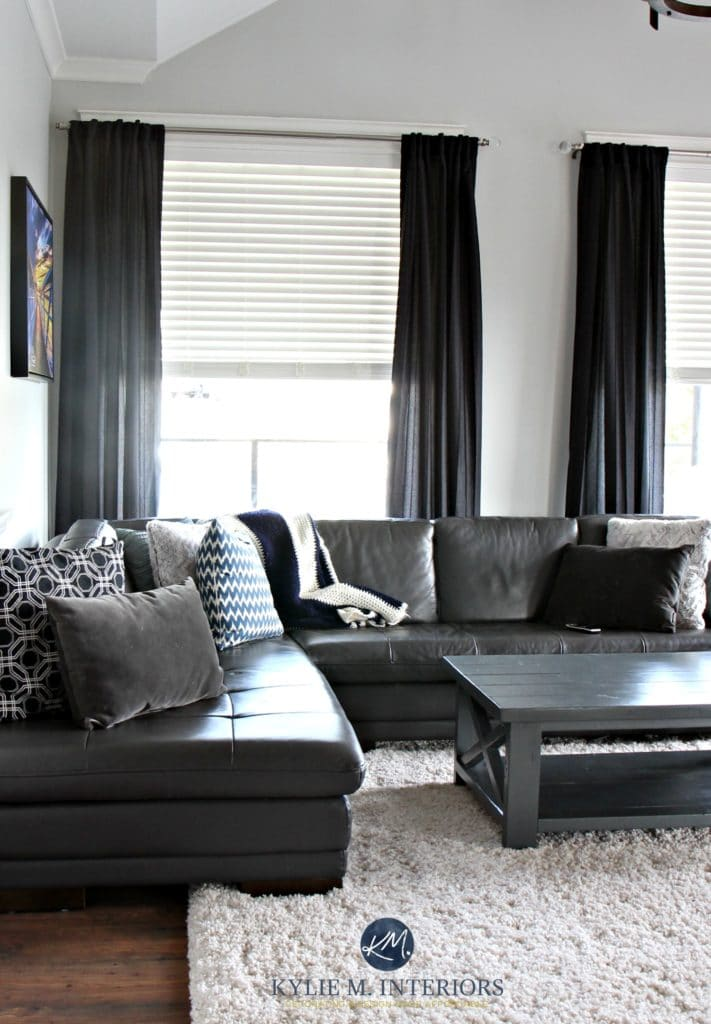 Benjamin Moore Gray Owl is one of the best cool gray paint colours with subtle undertones. Shown with black and a gray leather sectional. Kylie M Interiors