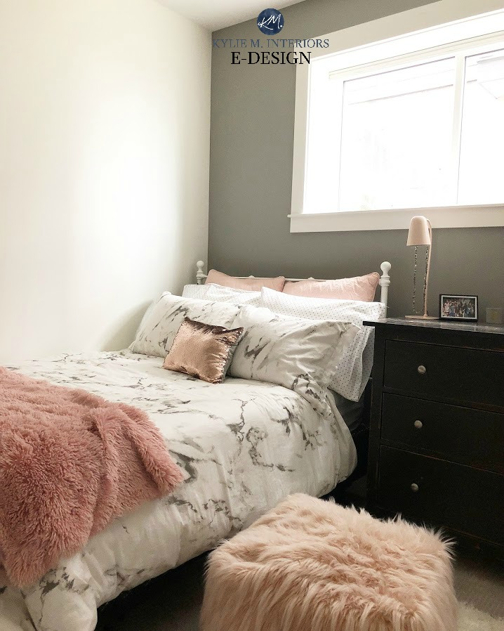 Benjamin Moore White Dove On Walls, Best White Paint Colour With Gray  Feature Wall In Teen Girl Bedroom. Kylie M Interiors Edesign