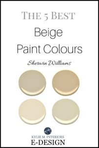 Best Sherwin Williams beige, tan and neutral paint colours. Kylie M E-design and online color consultant expert