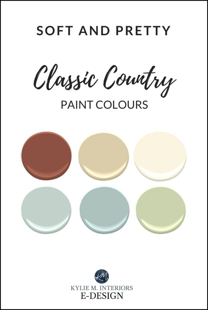 Classic country style paint colour ideas for a farmhouse look. Benjamin Moore. Kylie M Interiors Edesign, online paint colour consultant and diy decor blogger