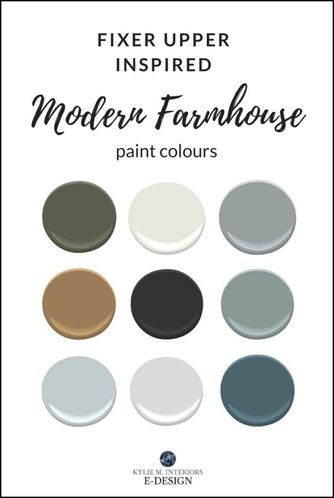 Fixer Upper, Modern Farmhouse inspired paint colour ideas. Benjamin Moore and Sherwin. Kylie M Interiors Edesign, online paint colour expert and diy decorating blogger