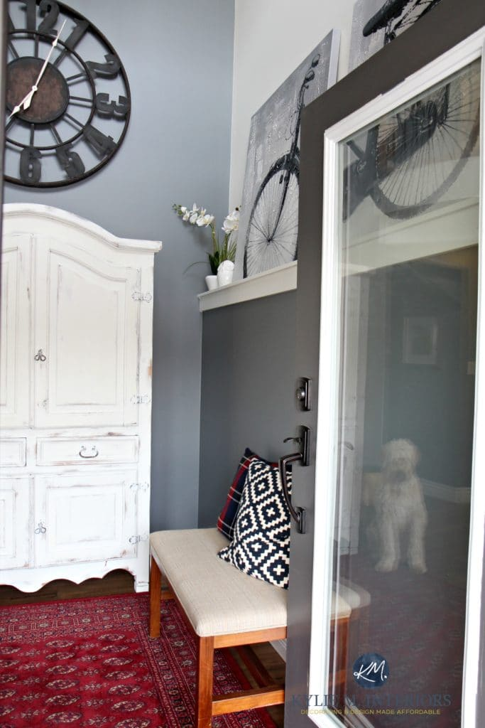 Foyer or Entryway with white wood armoire for kids stuff, Benjamin Moore STeel Wool gray paint colour by Kylie M INteriors