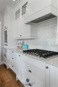 Kitchen with Sherwin Williams white cabinets, LG quartz countertop, marble subway tile backsplash white oak flooring. Kylie M INteriors Edesign, online paint colour consulting