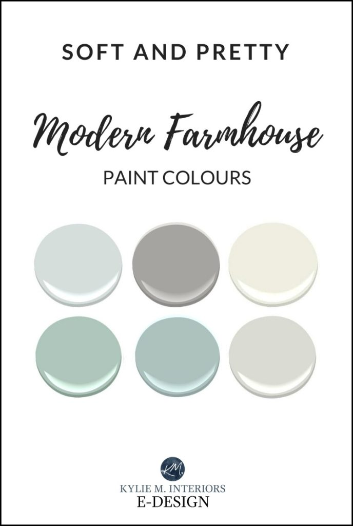Pretty modern farmhouse paint colour ideas. Benjamin Moore. Kylie M INteriors Online paint colour consulting and Edesign expert
