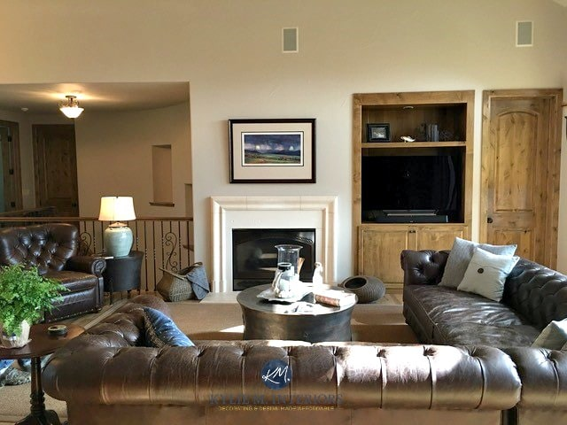 Sherwin Williams Accessible beige with leather sectional, fireplace and built-in wood tv STand. Kylie M Interiors E-design, online colour expert